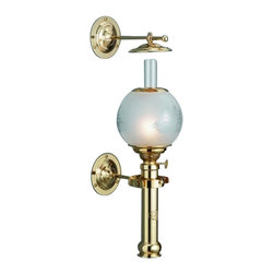 """Weems & Plath Captain's Cabin Lamp - This lamp was originally designed as the light source in officer's cabins and saloons in the late 19th century. It features four-way gimbals, and a 5"""" handmade acid frosted globe with ship motif. The globe is securely fastened with a clip-on spring in stainless steel. It is made from hand polished and lacquered brass. It has a .24"""" circular burner, it weighs 4lbs. 8oz., it is 15.35"""" tall, it's oil container capacity is 4 oz. and it's burn time is +/- 9 hours with clean burning lamp fuel. It was designed and made using models and tools dating back to the end of the 19th century. It is crafted from the finest quality brass available, it is numbered individually and it is hand lacquered, requiring no polishing."""