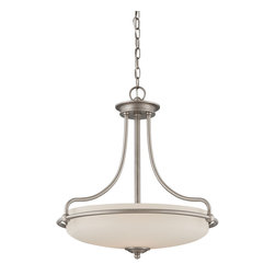 Quoizel - Quoizel Antique Nickel Pendants - SKU: GF2821AN - This understated style provides a stylish, soft modern look for most any room. The etched shade is painted white inside, diffusing the light evenly and illuminating your home with a soothing glow. It is held in place by softly curved arms and is available in three finishes: Antique Nickel, Polished Chrome and Palladian Bronze