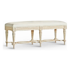Eloquence - Constance Gustavian French Country Weathered White Ivory Leather Bench - Short - A luxurious leather-upholstered bench fits beautifully at the foot of your romantic queen-size bed. Finished in antique white wood and detailed with classic French Country carvings, this gorgeous piece graces your bedroom with elegance.