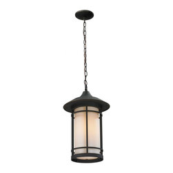 One Light Oil Rubbed Bronze Matte Opal Glass Hanging Lantern - Today's contemporary homes as well as homes of the craftsmen style are particularly well suited with the classic styling of this medium outdoor chain light. This fixture has oil rubbed bronze  finish with matte opal glass.