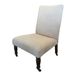 Vintage Linen Slipper Chair - This beautifully textured, slubby Linen, just enough to upholster a simply styled Vintage slipper chair.