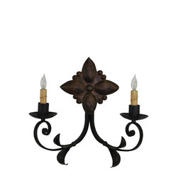 Custom Hand Made Iron Sconces - Custom hand forged iron sconce. Can be finished in any of our 12 custom hand applied colors finishes. For our complete hand forged lighting catalog with more than 500 designs, please visit us at www.haciendalights.com. Any design can be custom made to your specific dimensions at little or no cost.