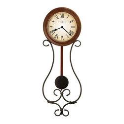 HOWARD MILLER - Howard Miller Kersen Wrought Iron Clock With Pendulum - Wrought iron wall clock with warm antique gray finish.