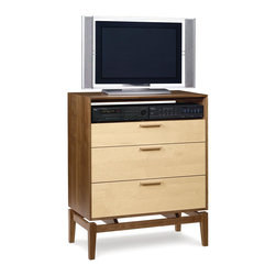 Copeland Furniture - Copeland Furniture Soho 3 Drawer Dresser + TV Organizer 2-SOH-35-82 - The SoHo bedroom cases are crafted in solid walnut and maple or cherry and available in an assortment of species combinations and knob and pull options for a highly customizable room setting. Specify conventional or water borne finish.