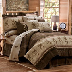 Kimlor Mills - Browning Buckmark Comforter Set in Brown - Decorated in earth tone colors and an outdoorsy motif, this Buckmark bedding collection is both comfortable and cozy. Featuring the legendary Browning Buckmark symbol, this bedding is 100% cotton and is perfect for any room.