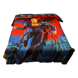 Jay Franco and Sons - Superman Twin-Full Comforter Super Steel Reversible Bedding - Features: