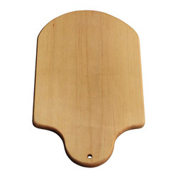 Handmade Maple Wood Cutting Board No. 34 - Handcrafted maple wood cutting board. Carved hole is used for hanging and displaying. Beautiful grain, shiny finish, and smooth to the touch. Fully seasoned with food safe, mineral oil. Board can also be used for serving food like cheese assortments or hors d'oeuvres.
