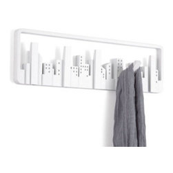Hooked on Skyscrapers in White - New York, London, Hong Kong: great cities have great skylines. Celebrate the glory of skylines with this set of hooks with a contemporary twist. Five skyscrapers flip forward so you can hang an array of items.