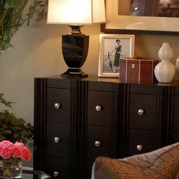 Fairbanks Chest of Drawers - Hand carved vertical stepped reeded details are highlighted by satin nickel hardware.