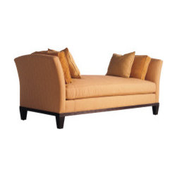 Upholstered Daybed: Barbara Barry for Baker - A contemporary daybed with flaring arms and a bench seat over a reeded wood frame. Square tapered legs.