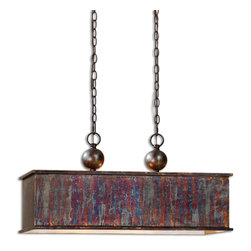 Uttermost - Uttermost 21922 Albiano 2 Light Oxidized Bronze Rectangle Pendant Chandelier - Complex Tonalities Of Metallic Oxidation Enrich These Classic, Simple Shapes