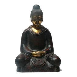 "Golden Lotus - Chinese Metal Golden Face Buddha Lohon Figure - Dimensions:   6.5""  x 4"" x h9.5"""