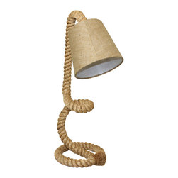 ecWorld - Urban Designs Nautical Twisted Rope Pier Metal Table Lamp - Metal Rope Pier Table Lamp looks like a decorative sculpture. Ideal for nautical theme decor, it delivers special lighting effect in the room. This lamp comes with a pier stand that is made over a sturdy steel wire clad with natural jute-nylon rope. A gorgeous bell shaped lamp shade with unique patterned sand color fabric beautifully complements this unique piece.