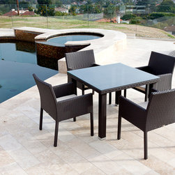 Babmar - Bella Dining Set For Four - Hand crafted from tightly woven commercial grade, man made resin fiber.