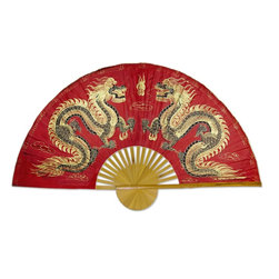 """Oriental-Decor - Fiery Dragons, 60"""" Width Chinese Wall Fan - Two golden dragons oppose each other in classic Asian style in this magnificent piece. The dragon is symbolic of courage and eternal life in Asian culture, while gold signifies strength and wealth. The background color of red is a lucky color in Chinese tradition and is beneficial for attracting good fortune."""