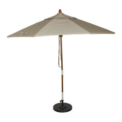 Phat Tommy - Market Patio Umbrella in Dove - The Phat Tommy 9 Foot Marenti Wood Market Umbrella is part of the Outdoor Oasis Line. Sunbrella fabric is more naturally fade resistant under prolonged sun exposure, so your shade solution stays beautiful for years of use and enjoyment.