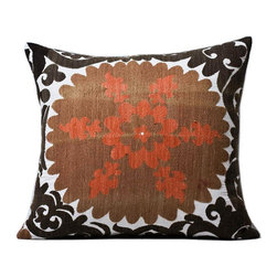 "Metrohouse Designs - ""Consigned"" Vintage Embroidered Suzani Pillow Imported From Turkey Circa 1930 - Vintage Suzani Accent Pillow"