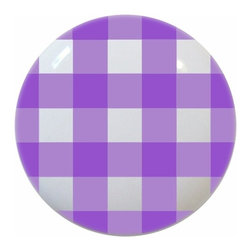 Carolina Hardware and Decor, LLC - Lavender Gingham Ceramic Knob - New 1 1/2 inch ceramic cabinet, drawer, or furniture knob with mounting hardware included. Also works great in a bathroom or on bi-fold closet doors (may require longer screws).  Item can be wiped clean with a soft damp cloth.  Great addition and nice finishing touch to any room.