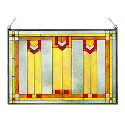 """Maclin Studio - Arts and Crafts Prairie Window Art Glass Panel Red - Our striking new Arts and Crafts Prairie Window Art Glass Panel Red is hand made in the USA with a color palette of Reds, Gold Ambers and Frosted Clear. Ht: 14"""" W: 20.5"""". On this glass panel, enamel colors are individually applied to a single sheet of glass giving each panel unique aspects of both color and texture. The glass is then framed with a patinated metal came and comes complete with two mounting chains."""