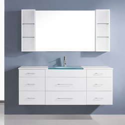 VIRTU - Virtu USA Columbo 59-inch White Single Sink Vanity Set - The Colombo vanity set is on the cutting edge of modern bathrooms. The design intersects beauty and functionality. The vanity comes with eight soft closing drawer,brush nickel hardware,two wall shelves,and a square cut frosted countertop.
