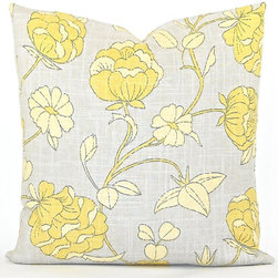 Lotus Blossom Gray Both Sides Decorator Pillow Cover By Studio Pillow - This airy gray and yellow floral would be nice in a master bedroom where a soothing, calming atmosphere is still desirable in the spring.