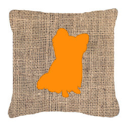 Caroline's Treasures - Chihuahua Burlap and Orange Fabric Decorative Pillow Bb1115 - Indoor or Outdoor Pillow from heavyweight Canvas. Has the feel of Sunbrella Fabric. 18 inch x 18 inch 100% Polyester Fabric pillow Sham with pillow form. This pillow is made from our new canvas type fabric can be used Indoor or outdoor. Fade resistant, stain resistant and Machine washable..