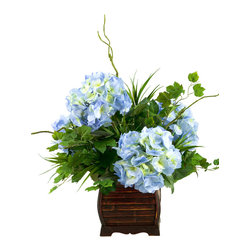 D&W Silks - D&W Silks Blue/Green Hydrangeas With Foliage In Rectangle Bamboo Planter - The natural colors of blue hydrangeas combine with the deep green of wild grass and ivy to create an traditional arrangement perfect for any home or office.  Set in a rectangular bamboo planter, this piece gives you beautiful color and a great look that will last for many years, no watering or sunlight required.  Comes preassembled as pictured.