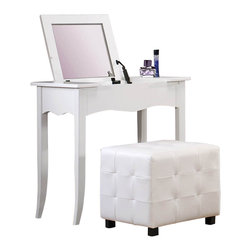 Homelegance - Homelegance Sparkle 2-Piece Vanity Set with Lift Top Mirror in White - The glamour girl in your life will swoon when she opens her bedroom door to the Sparkle collection. Fashion forward and scaled to fit her needs, this trendy bedroom will make her the envy of all of her friends. white bi-cast vinyl is featured not only on the tufted headboard, but on the-drawer fronts of each case piece and coordinating vanity and storage stools. Clear hardware is faceted for maximum sparkle and punctuates each-drawer front. Matching vanity features a hidden mirror within the lift top storage area.
