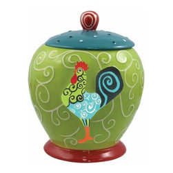 WL - 9 Inch Whirl of Swirls Decorated Rooster Collectible Painted Canister - This gorgeous 9 Inch Whirl of Swirls Decorated Rooster Collectible Painted Canister has the finest details and highest quality you will find anywhere! 9 Inch Whirl of Swirls Decorated Rooster Collectible Painted Canister is truly remarkable.