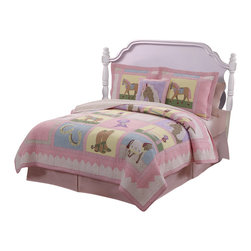 Pem America - Giddy Up Full / Queen Quilt with 2 Shams - Giddy Up is a girls quilt pattern with hand piecing and ribbon embroidery.  Soft pinks and lavenders with icons of horses bring bright colors into your girls bedroom.  The details on the quilted bedding will amaze you and the soft blend of horse icons with the pastel colors creates a timeless bedroom. Hand crafted quilt set includes: 1 full/queen quilt (86x86 inches) and 2 standard shams (20x26 inches). Face cloth is prewashed 100% natural cotton.  Fill is 94% cotton / 6% other fibers. Hand crafted with embroidery. Machine washable.