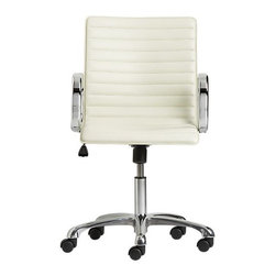 Ripple Ivory Leather Office Chair | Crate&Barrel - I have a fairly strong belief that the majority of desk chairs out there are ugly as sin. This is one of the very few I like. It's so refreshing to so ivory leather instead of black linty fabric, and silver accents instead of black plastic.