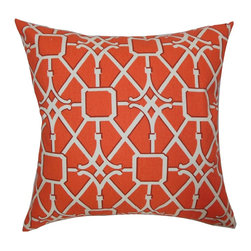 "The Pillow Collection - Isildur Geometric Pillow Tangerine 18"" x 18"" - Decorate your bed, sofa or seat with this fluffy contemporary throw pillow. This accent pillow not only serves as a statement piece but also brings more comfort. Adding this square pillow with a geometric pattern makes lounging in your living room stylishly chic. This 18"" pillow features a white and tangerine color combination. Crafted from 100% durable cotton fabric. Hidden zipper closure for easy cover removal.  Knife edge finish on all four sides.  Reversible pillow with the same fabric on the back side.  Spot cleaning suggested."