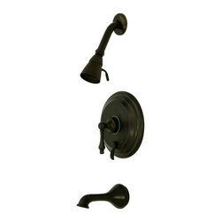 "Kingston Brass - Oil Rubbed Bronze Restoration Single Handle Tub & Shower Faucet KB36350AL - Solid brass water way construction, Premium color finish resists tarnishing and corrosion, 2.5 GPM / 9.5 LPM at 60 PSI, 6"" reach Shower Arm, 1/4 turn washerless cartridge, 1/2"" IPS Inlets, Pressure Balance Valve, Temperature Check Stop, Ten year limited warranty.. Manufacturer: Kingston Brass. Model: KB36350AL. UPC: 663370013645. Product Name: Single Handle Tub & Shower Faucet. Collection / Series: Restoration. Finish: Oil Rubbed Bronze. Theme: Classic. Material: Brass. Type: Faucet. Features: Fine artistic craftsmanship"