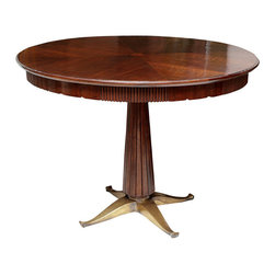 Martine Pedestal Base Dining or Game Table - Usually made in walnut or mahogany. Available in other wood species, specialty veneers and finishes. Available to any dimensions and specifications.