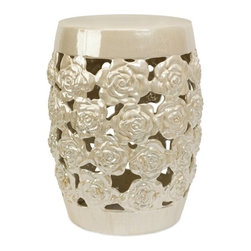 IMAX CORPORATION - Paige Cutwork Garden Stool - Roses adorn the lustrous Paige Cutwork Garden Stool to create a stool as worthy of your boudoir as your garden room. Find home furnishings, decor, and accessories from Posh Urban Furnishings. Beautiful, stylish furniture and decor that will brighten your home instantly. Shop modern, traditional, vintage, and world designs.