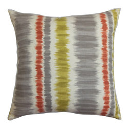 "The Pillow Collection - Odile Stripes Pillow Gray Green - Lend a pop of color to your interiors with this striking accent pillow. This square pillow looks gorgeous when placed in your bed, couch or seats. The bold stripes pattern features shades of green, gray, red and white. Ideal for various settings, this 18"" pillow complements many decor styles, including contemporary, traditional and more. Made of 100% soft and durable cotton fabric. Hidden zipper closure for easy cover removal.  Knife edge finish on all four sides.  Reversible pillow with the same fabric on the back side.  Spot cleaning suggested."