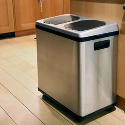 "iTouchless - iTouchless 2 Compartment Recycle Touchless Trashcan 16 gal. Stainless Steel Recy - Shop for Recycling Bins from Hayneedle.com! Additional Features Lids open automatically when debris is within 5-inches of sensor Lids close automatically after 3 seconds Open and close buttons for manual operation Sensor on and off switch on back of trash can 2 inner plastic buckets with handles remove for easy cleaning Powered by 4 ""D"" size batteries (not included) or AC power adaptor Keep your recyclables organized and separated without ever getting your hands dirty with the iTouchless 2 Compartment Recycle Trashcan. This 16-gallon stainless steel bin features two 8-gallon compartments. Each side has an independent sensor that lifts when trash is within 5 inches. The lid will remain open if debris or your hand is within the 5 inch range of the infrared sensor. It will close automatically three seconds after the debris has been released and you move away. There are open/close buttons for manual operations. You can turn off the sensor feature via an on/off switch on back of the trash can. This bin fits any regular 10 or 13 gallon trash bag in each side or you can use the included two plastic buckets which are easy to clean and cause no extra waste. The benefits of owning this 100% touch-free recycling trash can is that you have a germ free odor free automated environment for all recycle material and trash. Your hands stay clean while you sort recycling materials. It also helps prevent contamination reducing the threat of certain illnesses and infections. The lids seal in odor so it also prevents attracting pets and pests. About iTouchless iTouchless Housewares & Products creator of the Touchless Trashcan EZ Faucet and Towel-Matic manufactures and distributes a line of innovative products for your home and office. Their mission: to make people's lives a little easier by using their products. Over the last 15 years iTouchless has established a solid foundation and assembled multiple factories in Asia to support the increasing demand of sensor-activated products. Their vision for the future is to create a continuous stream of customer-driven innovations while selecting strategic partners and distributors to form mutually beneficial relationships."