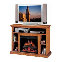Fireside Distributors - 28 in. Media Electric Fireplace in Oak Wood Veneer Finish - Add form, function and style to any decor with this versatile media electric fireplace unit, featuring open shelving for electronic components and a remote control LED insert that has the look of an authentic fire. Crafted of hardwoods and wood veneer in oak finish, the unit will be an inviting addition to your interior design. Multi-function remote control included. TV and accessories not included. Hand-painted smoked fire brick detail side panels. LED flame with rolling and pulsating effects. Operates with or without heat. Five flame and heat settings. Function glass doors with center mount pull. Glass stays cool to the touch. Retractable metal mesh curtain. Thermostat controls room temperature automatically. 1350 Watt/4600 BTUs forced air heater. Constructed from solid hardwoods and wood veneers with hand-carved accents & multi-step finish process. 1-Year CSA approved warranty. Interior dimensions: 7.75 in. W x 14.25 in. D x 10.75 in. H. Shelf: 43 in. W x 15 in. D x 6 in. H. Overall: 48 in. W x 17 in. D x 35 in. H (150 lbs.)Electric Fireplace Media Center features a shelf for electronic media components. Hand wire management channels. Beautiful and substantial tiered molding top to support today's televisions and fully open storage with adjustable shelves for CDs and DVDs.
