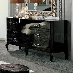 Magic Black Double Dresser w/Legs - ESF Furniture -