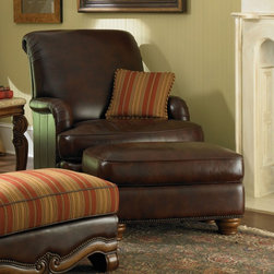 AICO Furniture - Toscano Leather Club Chair and Ottoman Set in Brown - 34935-BRO - Set includes club chair and ottoman