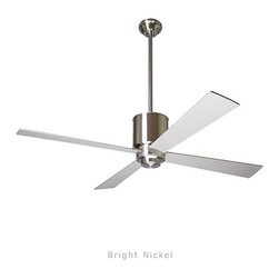 """Modern Fan - Lapa ceiling fan - The Lapa ceiling fan was designed by Ron Rezek for The Modern Fan Co. Our continuing desire to add value along with design to our product line resulted in the distinctive Lapa fan. The optional light is available with incandescent or energy-saving fluorescent lamping. A hugger adapter is also available for lower ceiling applications. The Lapa includes 2 standard down-rods, 5"""", & 13"""", yielding 16"""", 24"""", overall lengths respectively. Accessory down-rods are available for longer overall lengths."""