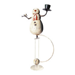 Authentic Models - Authentic Models TM094 Snowman Sky Hook - Over the years our tole craftsmen, and the artists who forge and shape wrought iron, have become wizards in their own right. They have recreated the whimsical designs of our in-house artist, turning her drawings into fun 3-D objects. A chubby, rocking snowman made with truly amazing craftsmanship in true �tole.