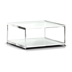 Geiger - H Frame Coffee Table - Turn blah into bold with this sleek steel and glass coffee table. Openly display items on the steel base below and give your room the wow factor it deserves.