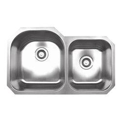 Whitehaus - Whitehaus Whndbu3220 Noah's Double Bowl Sink - Double bowl undermount sink