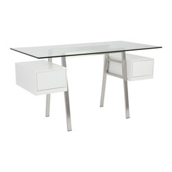 Eurø Style - Collette Brushed Stainless Steel Desk with White Drawers - Features: