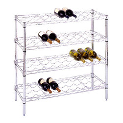 "Metro Shelving - 36 Bottle Wire Shelf Wine Cart in Chrome Finish - Store up to 36 bottles on this strikingly handsome wire shelf wine cart that comes in an innovatively strong modern design with a brilliant chrome finish.  It's as attractive as it is utilitarian, allowing you to organize your growing wine collection in style. * Holds up to 36 Wine bottlesMade of 18 gauge steel which holds up to 500 Lbs. per shelf3/4"" diameter posts1"" shelf snake height. Existing baskets and hooks are compatibleShelves adjust on 1"" incrementsNo tools required for assemblyWire design minimizes dust accumulation and allows ventilation20 Year warranty14 in. D x 36 in. W x 45 in. H"