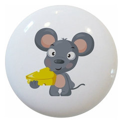Carolina Hardware and Decor, LLC - Mouse with Cheese Ceramic Knob - New 1 1/2 inch ceramic cabinet, drawer, or furniture knob with mounting hardware included. Also works great in a bathroom or on bi-fold closet doors (may require longer screws). Item can be wiped clean with a soft damp cloth. Great addition and nice finishing touch to any room!
