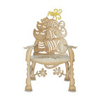 Cricket Forge - Cat Rocker - For the cat lover in all of us, this chair is a unique and creative way to showcase your passion. Mixed with a touch of humor and a few surprises, the Cat Chair is a loveable piece of furniture both indoors and out. Hand painted in our tabby tan, with beautifully rendered shadows and highlights and accented with a bright yellow bird.  Available as a Chair or as a Rocker
