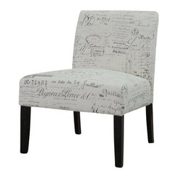 "Coaster - Accent Chair by Coaster, French Script Pattern - This contemporary armless chair is one of a kind. Designed to provide seating without being over-the-top in stylish adornments, this chair features a smooth frame construction with long tapered legs and clean upholstered cushions. This chair is a great sleek and modern style accent to any home decor creating a fine look of contemporary tailoring. Dimensions : 26"" x 25"" x 33""."