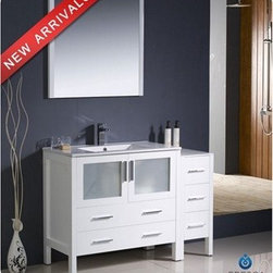 "Fresca - Fresca Torino 48"" White Modern Bathroom Vanity with Side Cabinet & Integrated Si - Fresca is pleased to usher in a new age of customization with the introduction of its Torino line. The frosted glass panels of the doors balance out the sleek and modern lines of Torino, making it fit perfectly in either 'Town' or 'Country' décor. Available in the rich finishes of Espresso, Glossy White, Light Oak and Walnut Brown, all of the vanities in the Torino line come with either a ceramic vessel bowl or the option of a sleek modern ceramic integrated sink.Features Materials: Plywood w/ Veneer, Ceramic Sink w/ Overflow Single Hole Faucet Mount (Faucet Shown In Picture May No Longer Be Available So Please Check Compatible Faucet List) Optional Leg Extensions Included P-trap, Faucet, Pop-Up Drain and Installation Hardware Included Overflow: Yes How to handle your counter Installation Guide View Spec Sheets 1 View Spec Sheets 2"